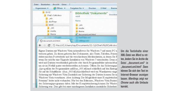 Sie können sich die Textinhalte im Internet-Browseranzeigen lassen.