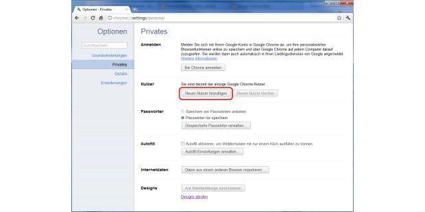 In Chrome 16 neue Benutzer anlegen