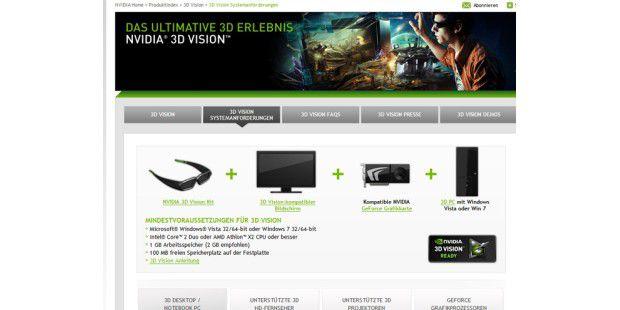Auf der Nvidia-Webseite können Sie dieSystemvoraussetzungen für 3D Vision in Erfahrung bringen.