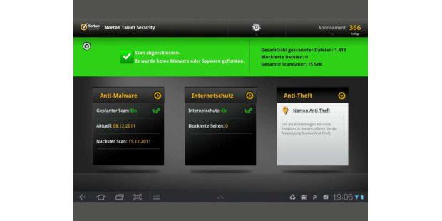 So präsentiert sich Norton Tablet Security auf dem Tablet.