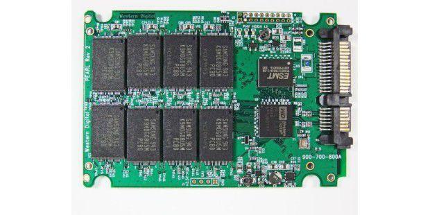 Die Oberseite der SSD-Platine im Überblick: Western Digital Siliconedge Blue