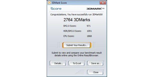 Asus Eee Top ET2203T: Ergebnis unter 3D Mark 06