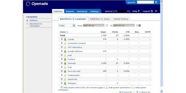 Bannermanagement: Von Openads Limited stammt eine kostenlose, englischsprachige Software.
