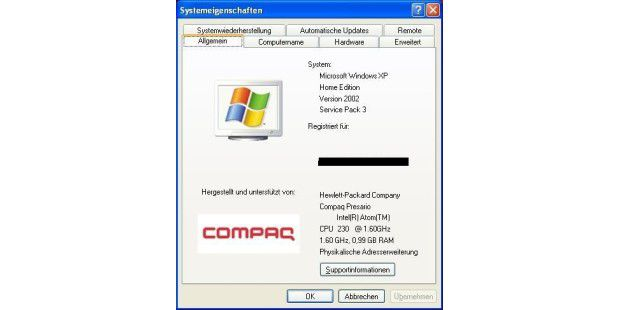 Systeminformationen des HP Compaq CQ2000DE unter Windows