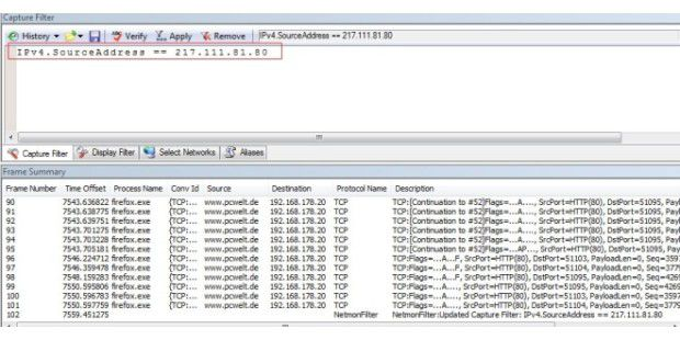 Nach der IP-Adresse des Source-Rechners filtern.