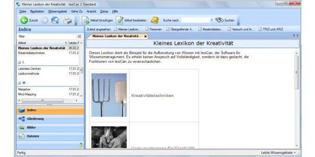 Chaosbewältigung: Dateien, Texte und Verweise lassen sichmit lexiCan übersichtlich ordnen.