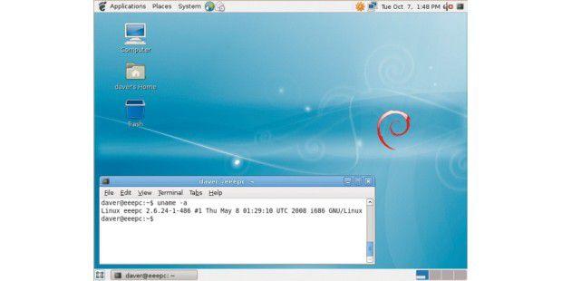 Das Debian Eee-PC-System basiert auf Lenny Beta2.