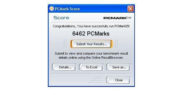 Ergebnis im Benchmark PC Mark 05