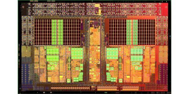 Abgespeckt: Der Die des Athlon II vereint auf einer Flächevon 117,5 Quadratmillimetern 410 Millionen Transistoren