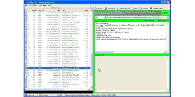 Request Builder: Per Drag&Drop kann man ein gesendetesDatenpaket als Vorlage für ein manuell erzeugtes http-Paketnutzen.