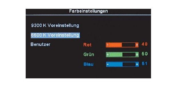 Auswahl der Farbtemperatur im On-Screen-Menü desMonitors