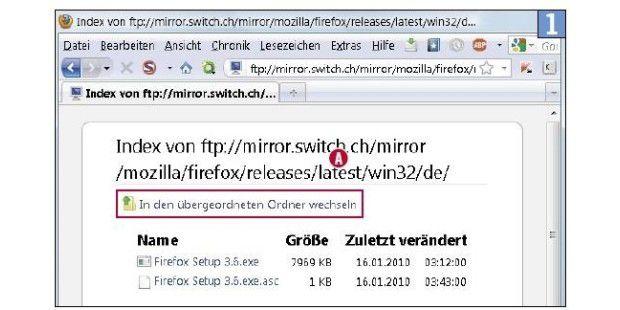 FTP-Server von Switch: Das Navigieren geht so einfach wieim Windows-Explorer. Hilfreich ist der Link in den übergeordnetenOrdner wechseln.