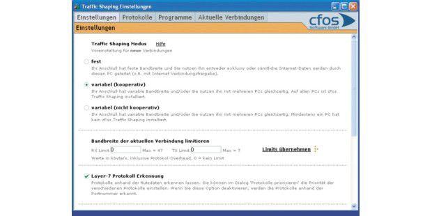 Cfos Speed: Dieses Programm hat die ausführlichstenEinstellungsmöglichkeiten unter den von uns getestetenTools.