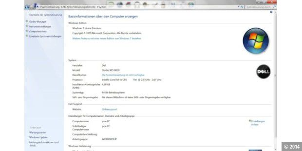 Windows 7 Home Premium 64-Bit auf dem Dell Studio XPS 8000