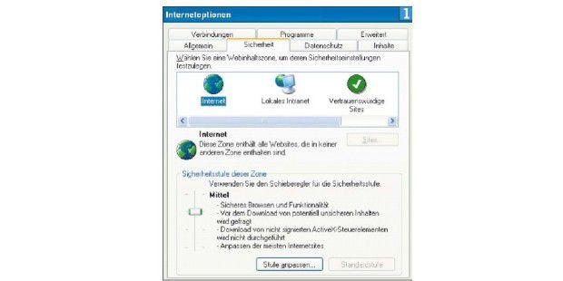 """Im Internet Explorer sollten Sie die Regeln für die Zone""""Internet"""" verschärfen. Die genaue Menü-Ansicht von der VersionIhres Internet Explorers ab."""