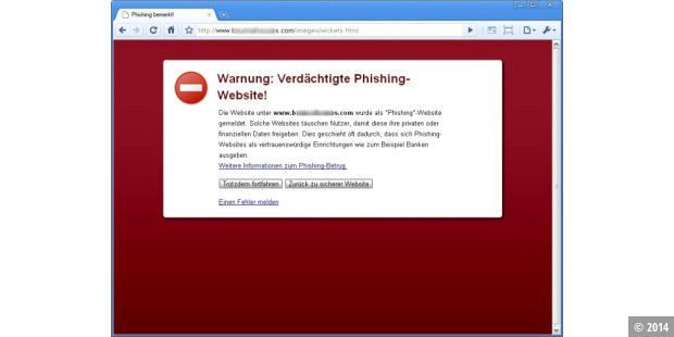 Chrome warnt vor Phishing