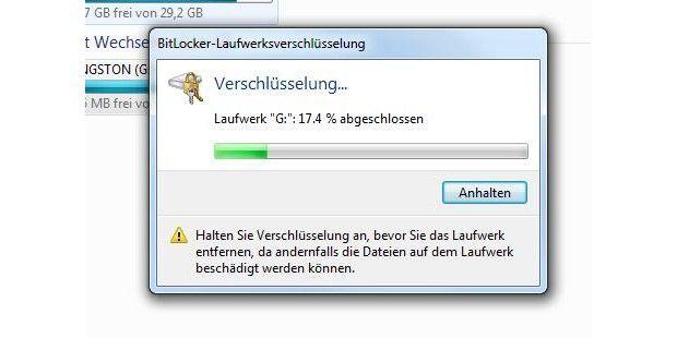 BitLocker To Go braucht einige Zeit, um den USB-Stick zuverschlüsseln