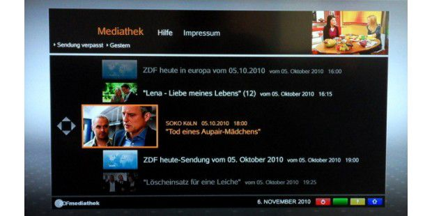 Mediathek des ZDF auf dem Fernseher