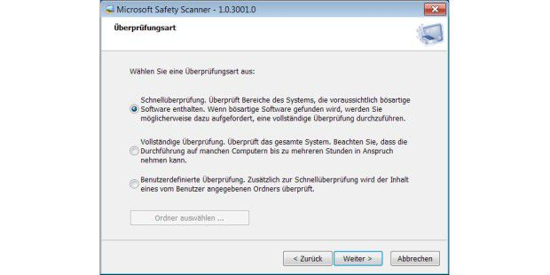 Safety Scanner - Optionen