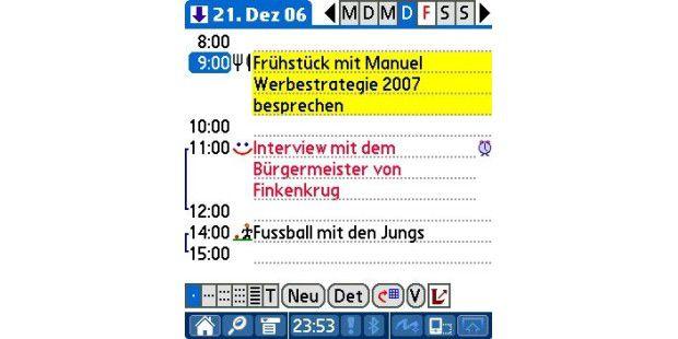 DateBk 6 (Pimlico Software, ca. 26 Euro) ist ein Kalender-Ersatz für Palm OS.