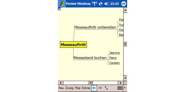 Pocket Mindmap (JKRB Software, ca. 40 Euro) ist ein Projektmanager für Windows Mobile 5/2003.