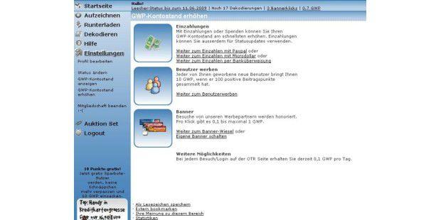 Online-TV-Recorder:Für Extras brauchen Sie GWPs.