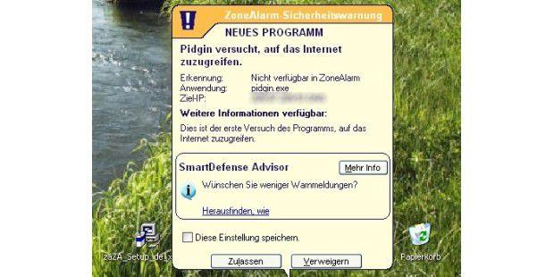 Dank lernfähigem Assistenten: Ohne Ihre Erlaubnis darfkein Programm ins Netz.