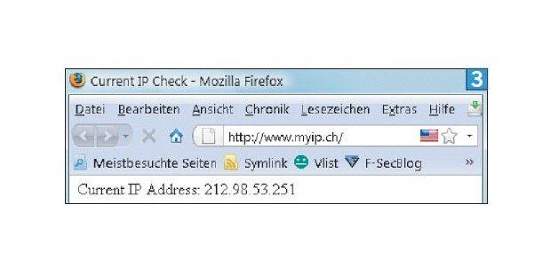 Die Seite www.myip.ch zeigt Ihre öffentliche IP-Adressean