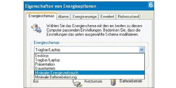 Sparpotenzial: Die Option MINIMALER ENERGIEVERBRAUCH passtCPU-Takt und Stromverbrauch an