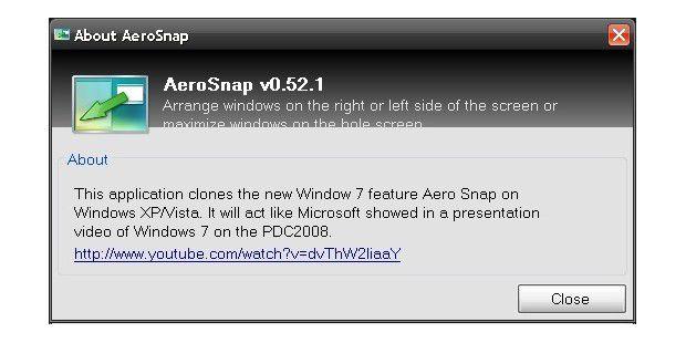 Aerosnap dockt Fenster am Bildschirmrand an