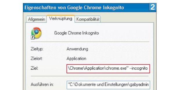 Mit dem Befehl --incognito startet Chrome automatisch indiesem Modus