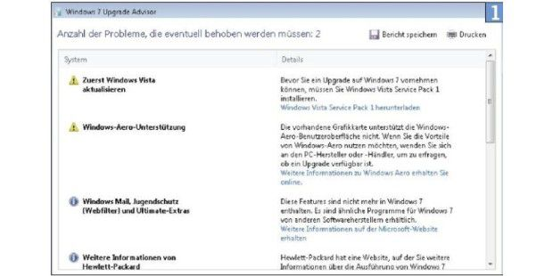 Der Windows 7 Upgrade Advisor warnt Sie vor Problemen beim Umstieg