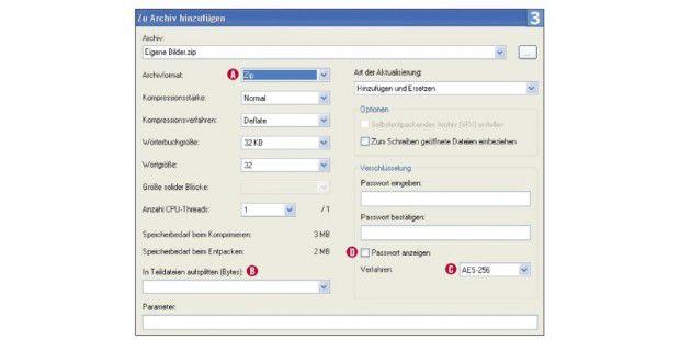 7-Zip bietet viele Optionen fürs Erstellen vonZIP-Files