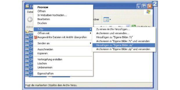 Mit einem Rechtsklick lassen sich Dateien direkteinpacken