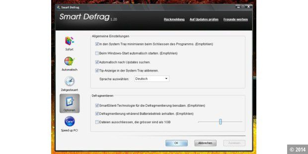Smart Defrag: Optionen