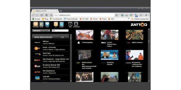 Bei Internet-TV-Diensten wie hier Zattoo.com istHD-Qualität bislang die seltene Ausnahme.