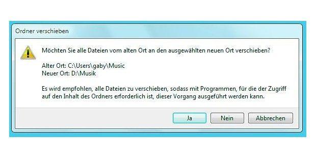 Windows passt beim Verschieben auch die Bibliothekenan.
