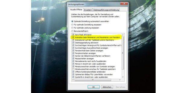 Fenster-Animation abschalten schontHardware-Ressourcen