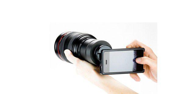 Der SLR Mount erlaubt es Ihnen, auch Profi-Objektive mitdem iPhone zu verbinden.