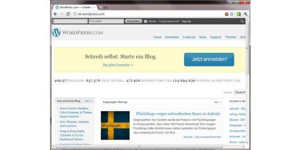 Auf de.wordpress.com können Sie ein eigenes Blog mitwenigen Mausklicks erstellen.