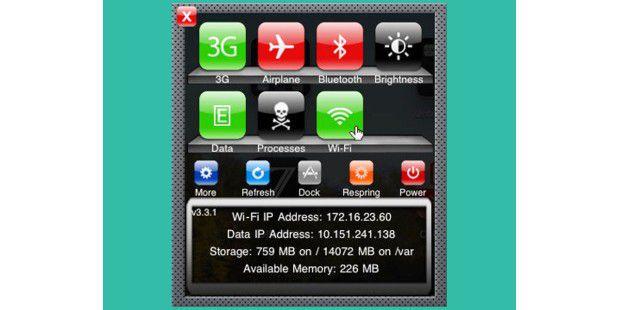 Die App SBSettings erlaubt den blitzschnellen Zugriff aufwichtige Systemeinstellungen.