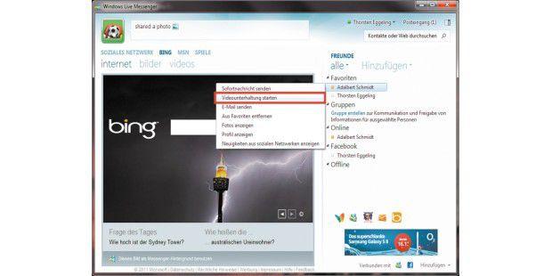 """Auch der Windows Live Messenger bietet Gelegenheit zumVideo-Chat. Klicken Sie dazu auf einen Kontakt und wählen Sie imMenü """"Videounterhaltung starten""""."""