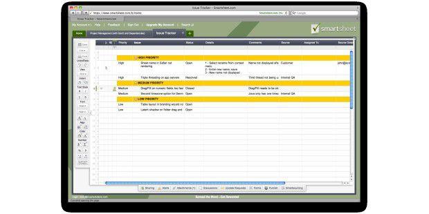 Smartsheet: Projektdaten als Sheets