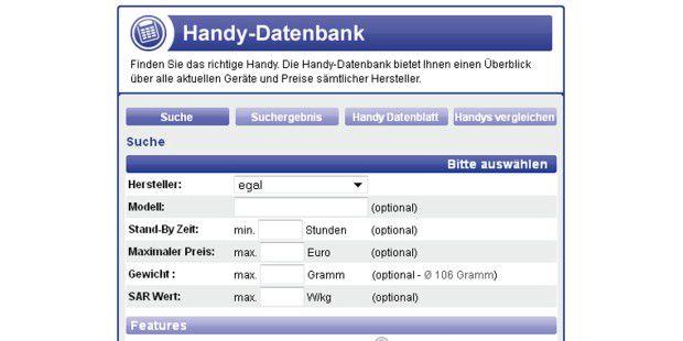 Handy-Vergleichsseiten wie Handytarife.de bieten dieOption, Handys gezielt nach Ausstattungsmerkmalen zusuchen.