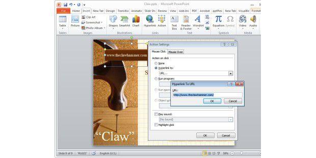 Sie können mittels eines Klicks auf eine Form direkt zu einer Webseite gelangen.