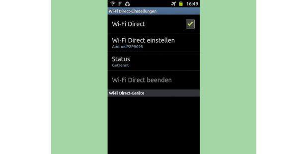 Wifi Direct kann eine direkte WLAN-Verbindung zwischenzwei Geräten herstellen, zum Beispiel zwischen zweiSmartphones.