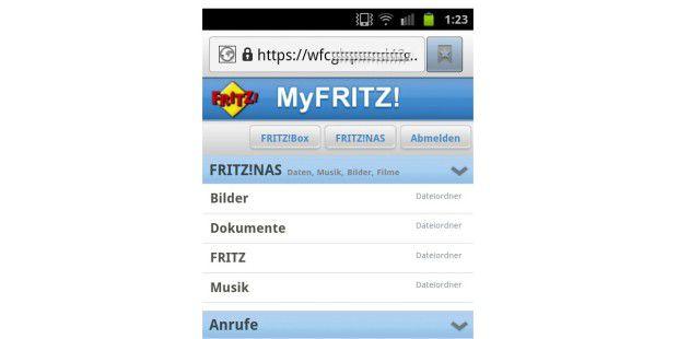 Die Webseiten von myfritz.net passen sich an die Größe vonSmartphone-Displays an.