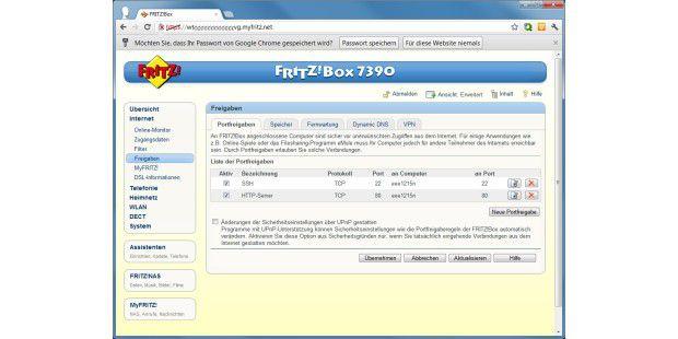Über MyFritz! können Sie auch auf Server in Ihrem Heimnetzzugreifen. Dafür müssen aber Portfreigaben konfiguriertsein.