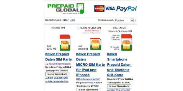 Zahlreiche Online-Shops bieten SIM-Karten zum Surfen imAusland.