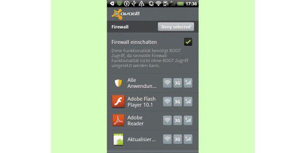 Mithilfe einer Firewall-Applikation legt der Anwender aufeinem gerooteten Smartphone genau fest, welche Apps Daten insInternet senden dürfen.